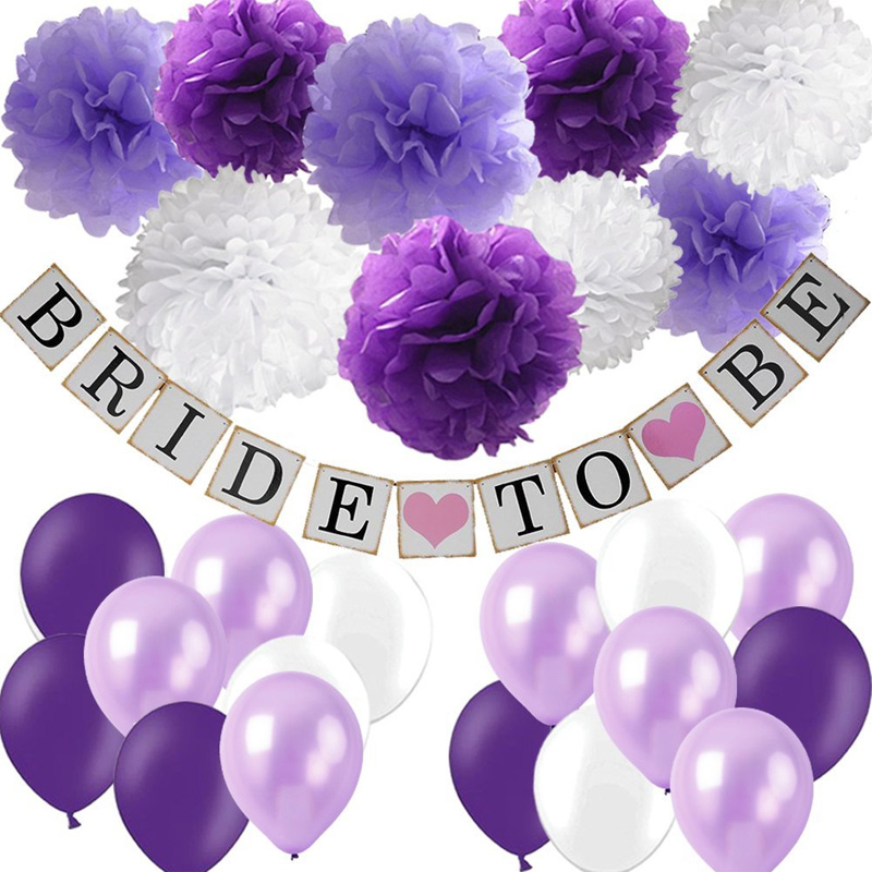 Lavender Purple Wedding Party Decorations Set Bridal To Be Banner Paper Pom-poms Flower Latex Balloon Anniversary Supplies