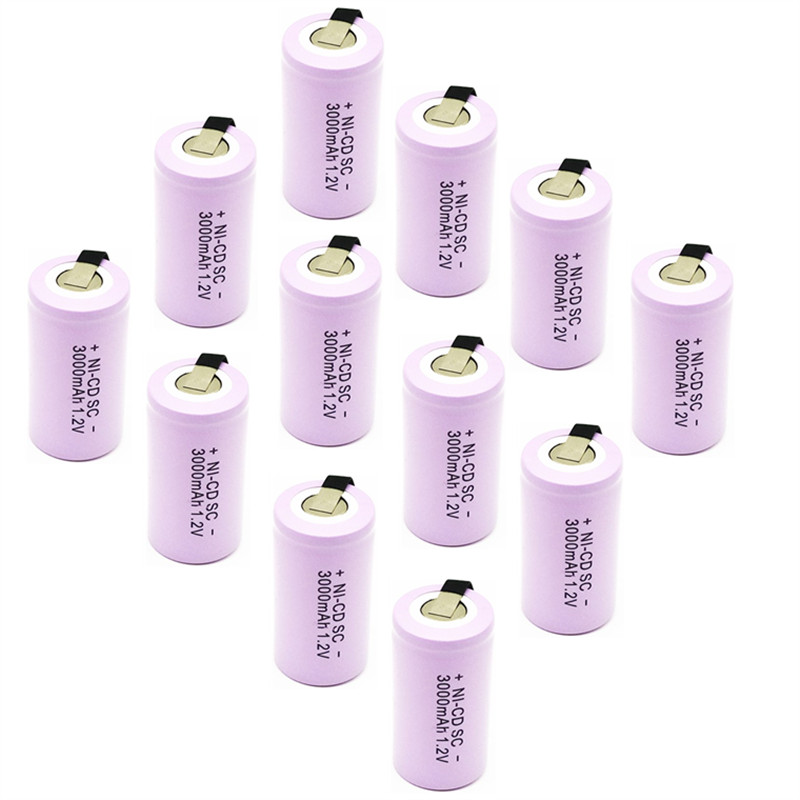15pcs High quality battery rechargeable battery sub battery SC battery <font><b>1.2</b></font> <font><b>v</b></font> with tab 3000 mah for electrical tools image