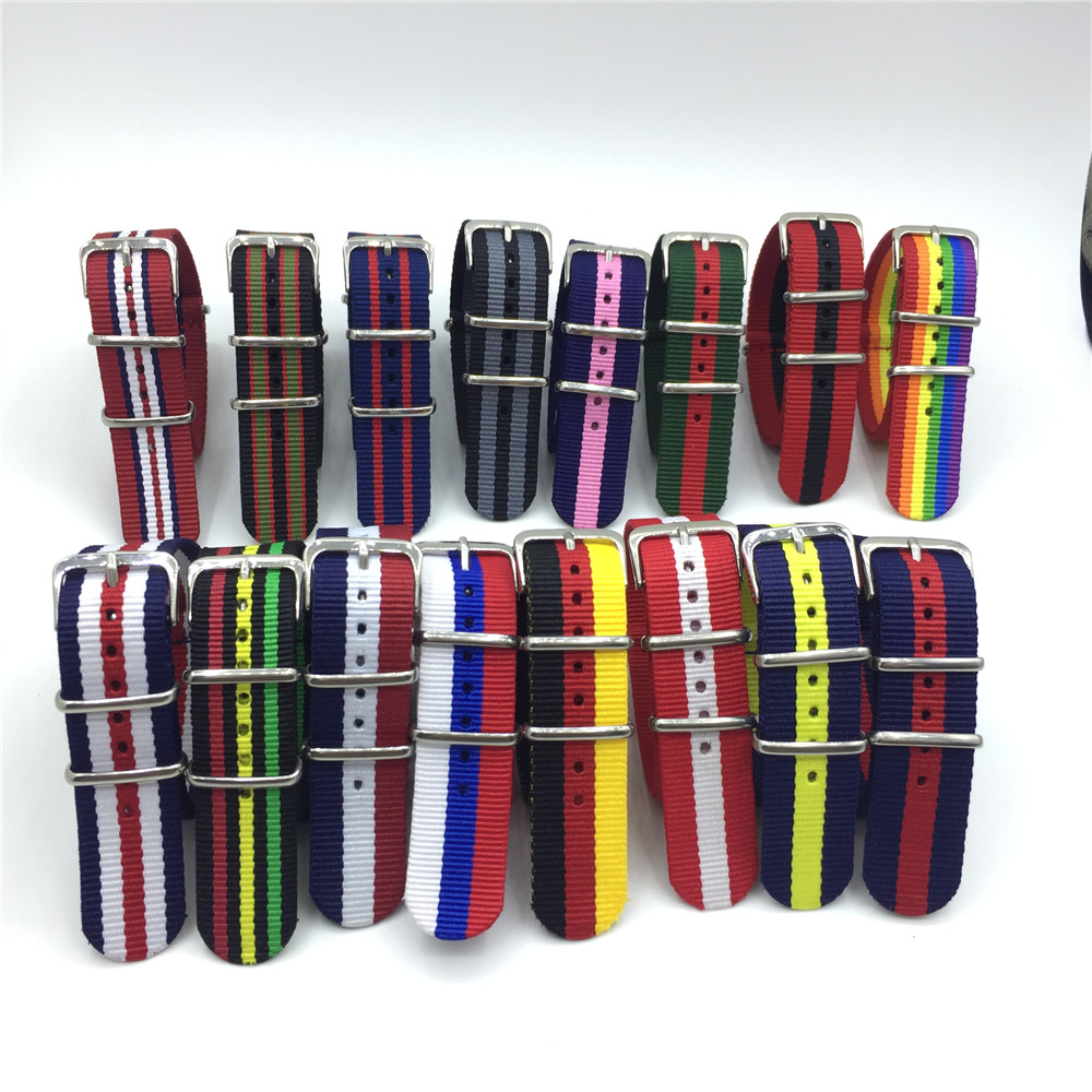 Rainbow Band Army Sports Soft Fabric Nylon Watchband Accessories Bands Belt Watch Colorful Woven Strap 18mm 20mm 22mm 24mm
