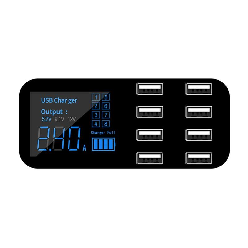 8 Port USB Charger HUB QC 3.0 Quick Charger with LCD Phone Station USB 3.0 Display For Mobile Multiple Charging Dock Voltage