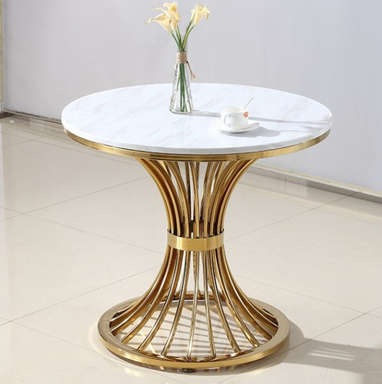 Luxury Iron Table Modern Apartment Sofa Table Creative Marble End Side Table Small Round Coffee Table Golden Round Table