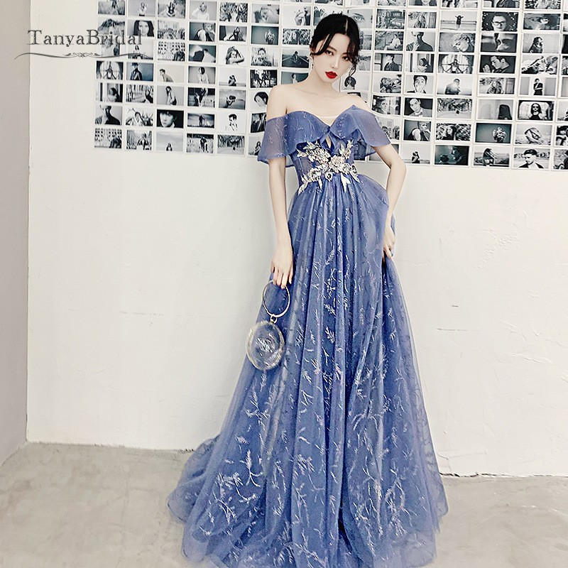Blue Prom Dresses 2020 A Line Off Shoulder Short Sleeves Long Prom Gown With Gold Lace Waist Formal Evening Dress