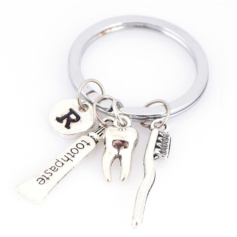 Tooth/R/toothbrush/toothpaste Charm Key Chain Dental Hygienist Keyring Car Key Ring Women Handbag Keychain