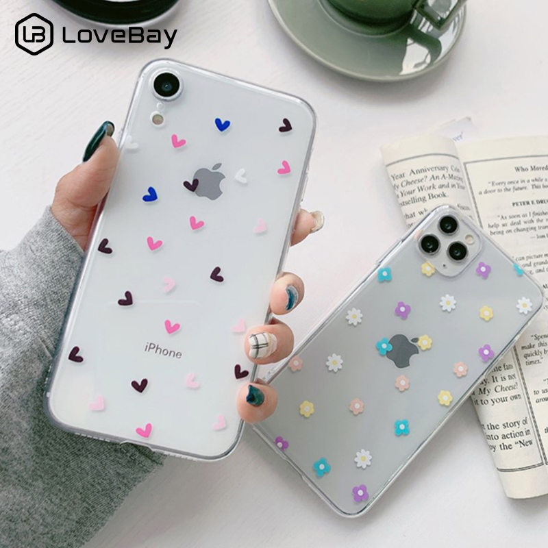 Lovebay Clear Love Heart Flowers Phone Case For IPhone 11 Pro X XR XS Max 8 7 6 6s Plus 5 5s SE Transparent Soft TPU Back Cover