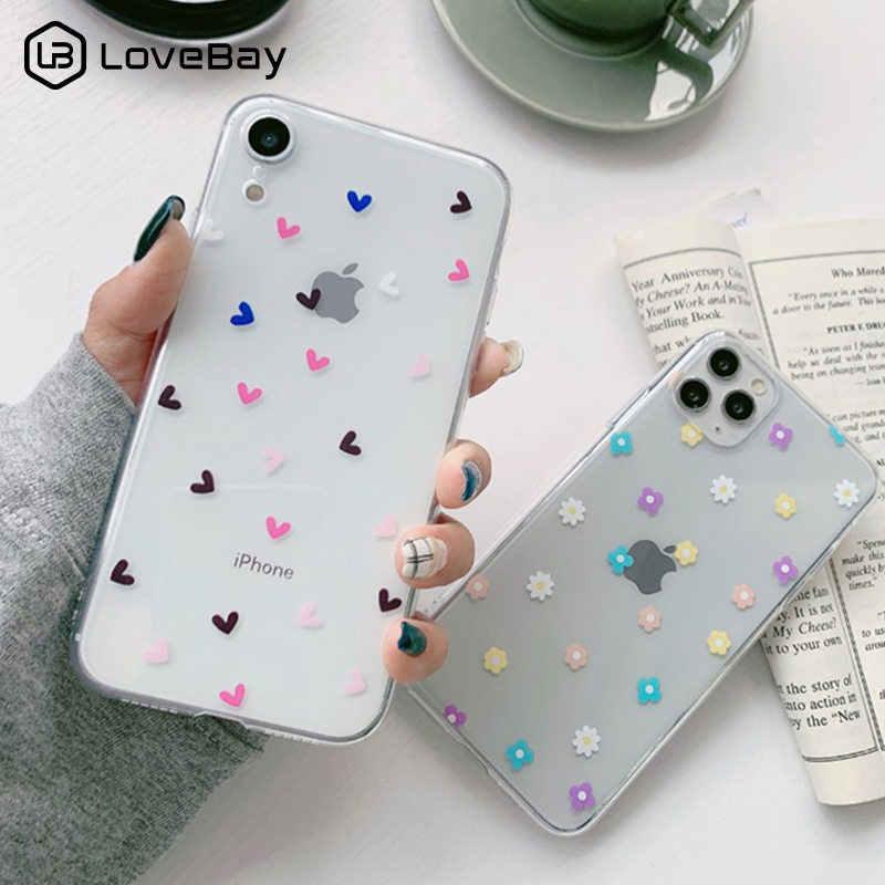 Lovebay クリアラブハート花電話ケース iphone 11 pro x xr xs 最大 8 7 6 6s プラス 5 5s 、 se 透明ソフト tpu バックカバー