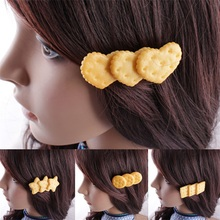 1pcs Cartoon Shape Scrunchy Girls Cute Simulated Biscuits Hair Clip Headbands Tie Kids Hairclip Band Accessories