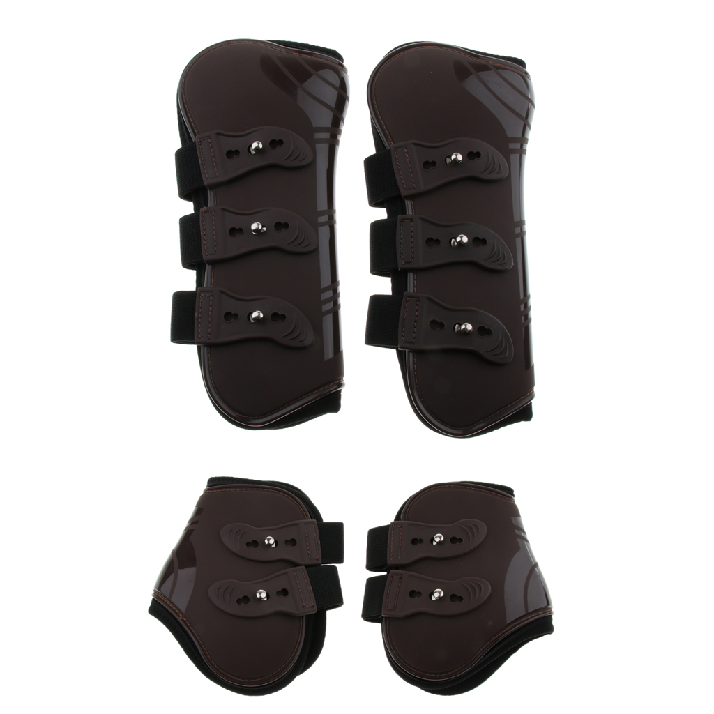 Horse Leg Boots Hind Front Leg Tendon Protect Wraps Cover Leg Support PU Protective Gear