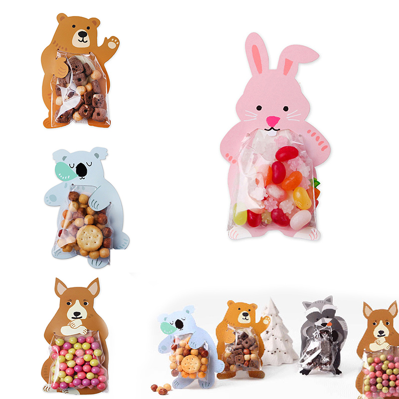 10PCS Goodie Bags Cartoon Animal Paper Plastic Gift Bag Packaging Candy Cookie For Sweets Wedding Party Present Packing Favour