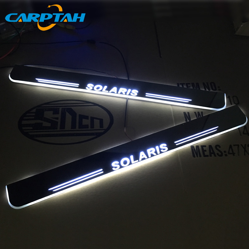 CARPTAH garniture pédale voiture extérieur pièces LED seuil de porte seuil plaque voie dynamique Streamer lumière pour Hyundai Solaris 2015-2018