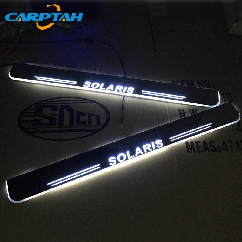 Piezas exteriores de coche CARPTAH Trim Pedal Umbral de puerta LED placa de desgaste camino Streamer dinámico luz para Hyundai Solaris 2015-2018