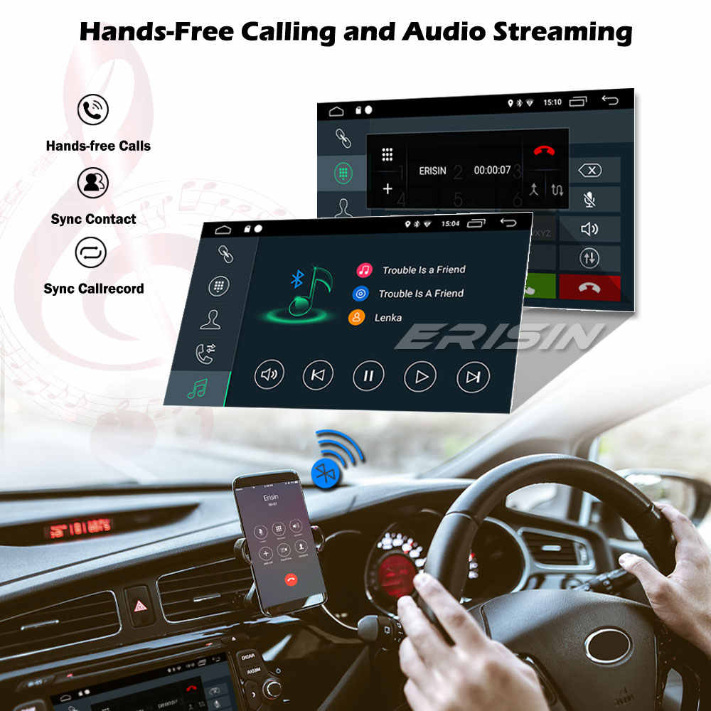 Erisin Double 2DIN Android 10.0 Car Stereo Auto Radio GPS DSP DAB + OBD Wifi Carplay Bluetooth DTV DVR USB + SD