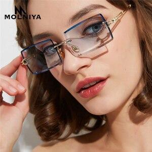 small rectangle sunglasses women rimless
