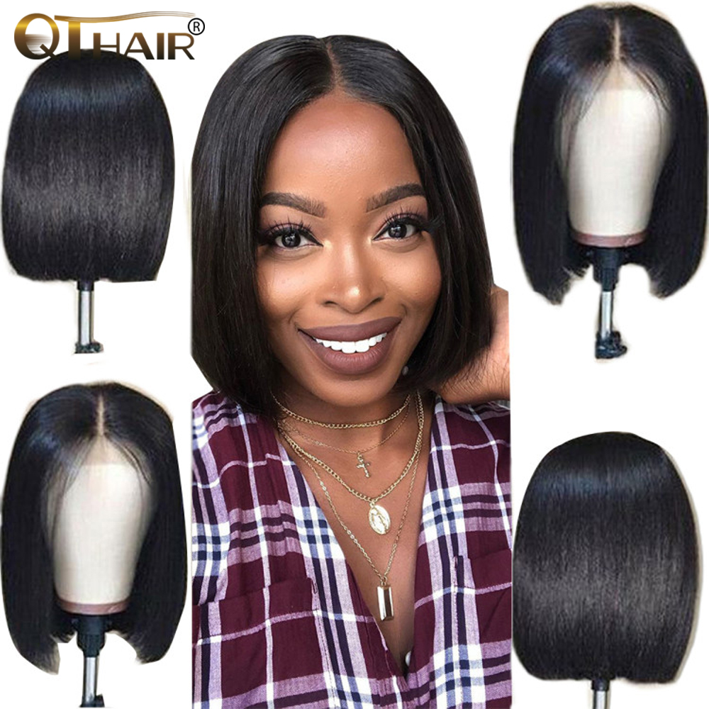 13x4 Short Lace Front Human Hair Wigs 150 Density Brazilian Straight Bob Lace Frontal Wig For