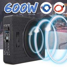 10 pouces 600W haut-parleur de voiture Subwoofer actif voiture sous siège mince Sub Woofer ampli Super basse voiture amplificateur caissons de basses 12V