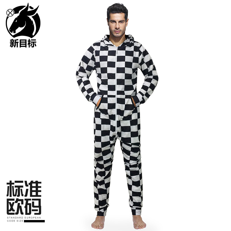 Cross Border Hoodie 2019 Autumn And Winter New Style Classic Black And White Plaid Printed Onesie Hooded Loose-Fit Home Couple C