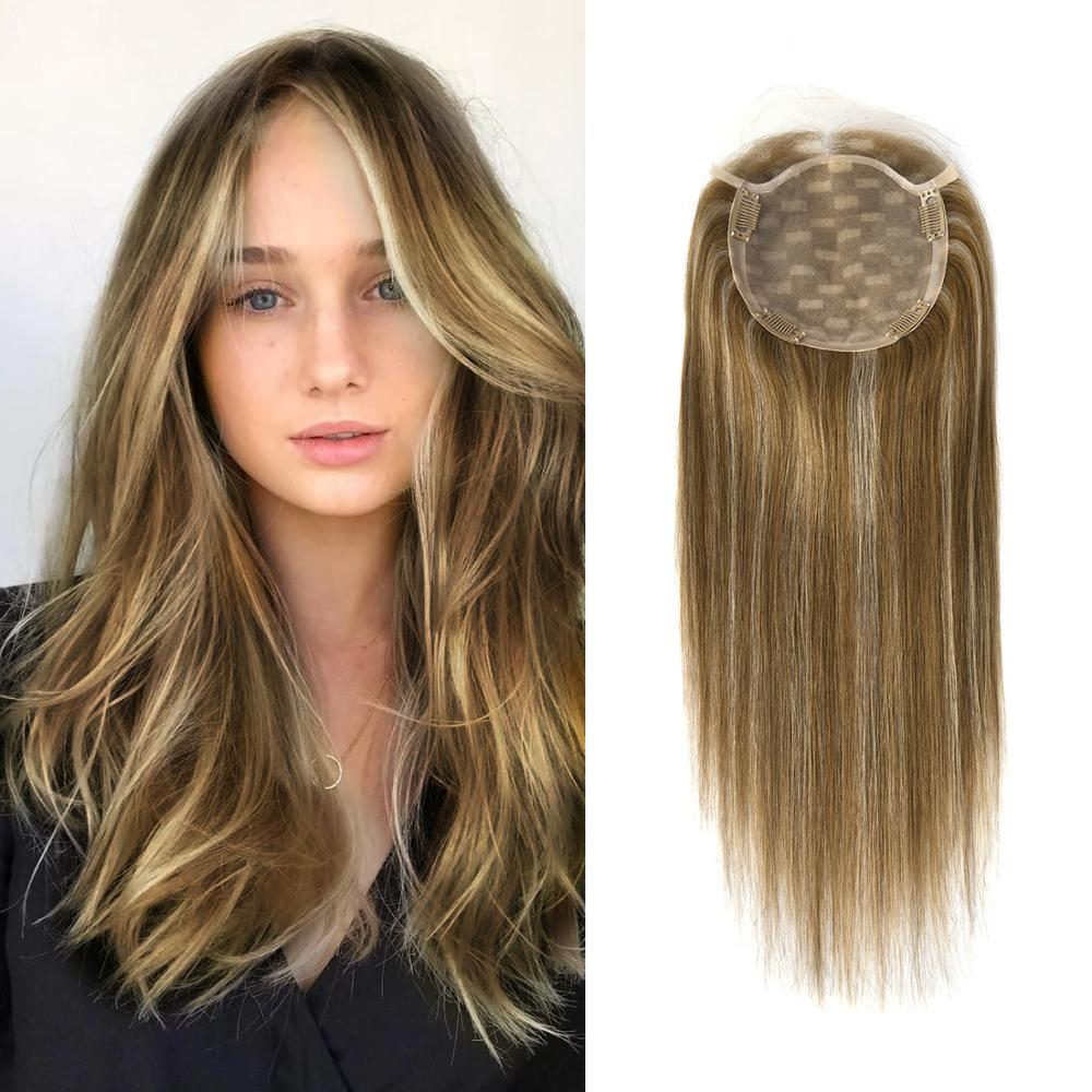 """MW Hair Topper Wig Remy Cuticle Virgin Human Hair 6*6.5"""" 4 Clips Silk Lace Frontal Natural Straight Fake Scalp Top Hair Piece"""