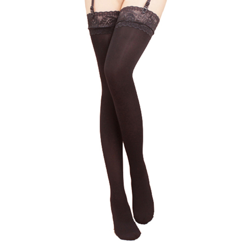 Large Size Thigh High Stockings Women Sexy Lingerie 80D Velvet Lace Top Stockings Medias De Mujer Ladies Long Hosiery
