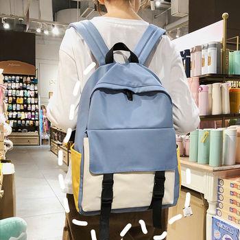 High Teenage School Bags for Girls Backpack Women Bag School Patchwork Nylon Solid Student Bookbags Female Teen Schoolbag Preppy