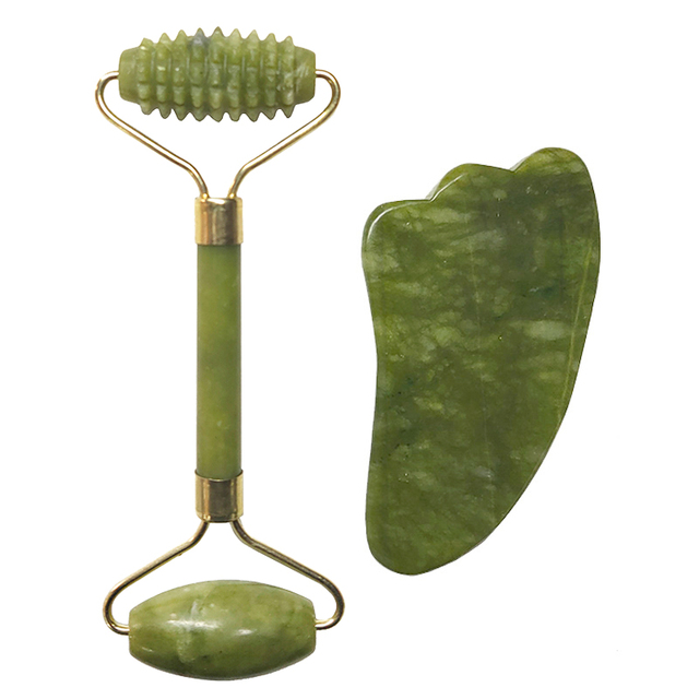 Natural Jade Roller Set Facial Massage Roller Jade Guasha Board Face Body Eyes Neck Massager Tool Skin Beauty Health Care 3