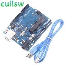 UNO R3 עבור arduino MEGA328P ATMEGA16U2 1PCS UNO R3 פיתוח לוח + 1PCS כבלים
