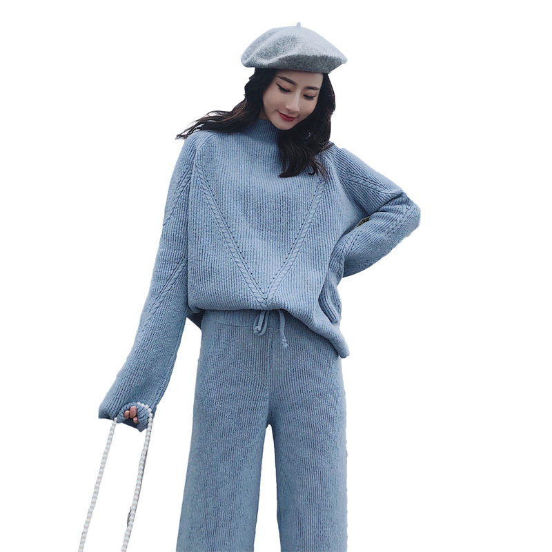 Knitted Suits Women 2 Pieces Pant Sets 2019 Autumn Winter New Solid Warm Sweater And Wide Leg Pant Suits Outfits