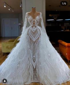 Image 4 - Real Image Luxury Lace Feather Mermaid Wedding Dresses With Detachable Train Modest Full Sleeves Bridal Gowns Robe De Soiree