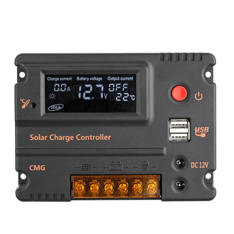 20A PWM Solar Charge Controller Solar Panel Battery Regulator Auto Switch CMG Temperature Compensation 12V/24V CMG
