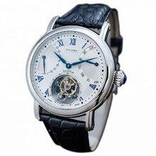 High end Luxus Kalender Woche Männer Tourbillon Uhr ST8004 Krokodil Leder männer Mechanische Uhren Saphir Zifferblatt