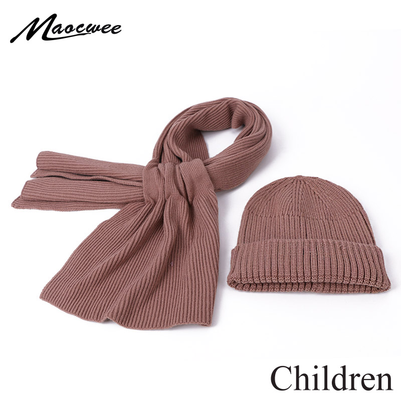 Winter Knitted Beanie Hat Scarf Set For Children Cute Baby Outdoor Warm Crochet Bonnet For Girls Boys Casual Solid Color Beanies