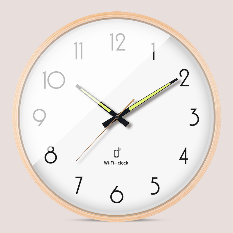 Luminous Minimalistic Wall Clock Silent Wooden Living Room Smart Wifi Clocks Modern Unique Reloj Pared Madera Decoration AA50WC
