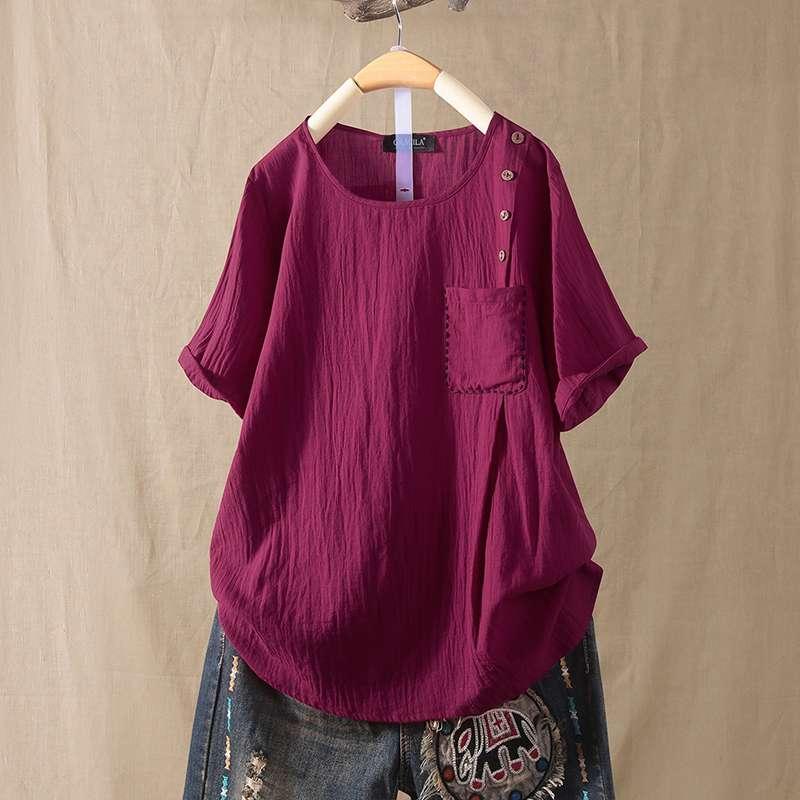 2020 Summer Short Sleeve Blouse ZANZEA Women Solid Shirt Vintage Cotton Linen Tops Tunic Female Work Blusas Femininas Mujer Top