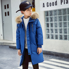цены Winter Warm Thicken 90% White Duck Down Long Child Coat Children Outerwear Fur Boys Down Jackets Kids Outfits For 110-170cm