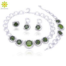 Green Cubic Zirconia Wedding Jewelry Sets Silver Color Necklace Earrings Ring Bracelet Set With Birthday Gift circle moon necklace bracelet earrings with ring set