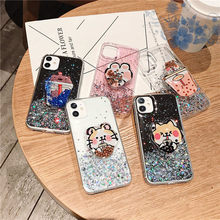 Glitter Milk tea stand holder Case For Huawei Nova 5T 3 3i 3e 4 5 5i Pro 6 SE Y9 Y7 Y6 Y5 Prime 2018 2019 P Smart Z Soft Cover(China)