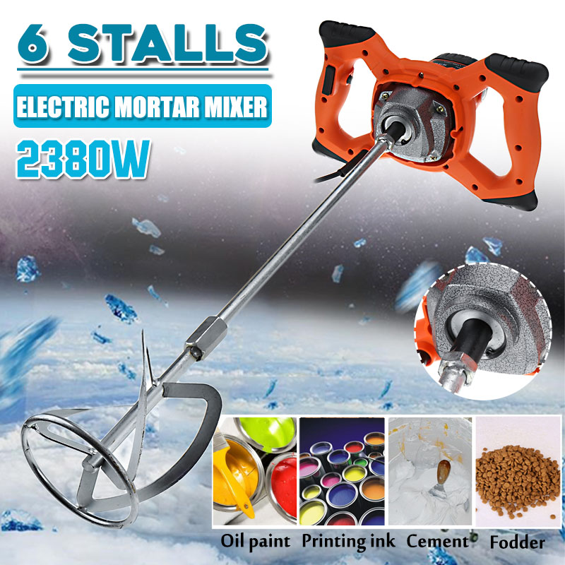 Becornce 220V 2380W Dual High Low Gear 6 Speed Handheld Paint Cement Grout Electric Mortar Mixer Putty Powder Mixing Machine