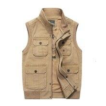 プラスビッグサイズ 6XL 7XL 8XLブランド服秋メンズベストノースリーブジャケットの綿カジュアルなマルチポケットベストの男性のチョッキコート