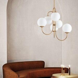 Image 4 - Современный подвесной светильник в скандинавском стиле золотого цвета с 6 стеклянными шариками, лампа молочного белого цвета для столовой, бара, ресторана, подвеска, Светодиодная лампа E27