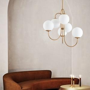 Image 4 - Modern Nordic Gold 6 Lights Glass Ball Pendant Light Lamp Milk White for Dining Room Bar Restaurant Suspension E27 LED Lamp