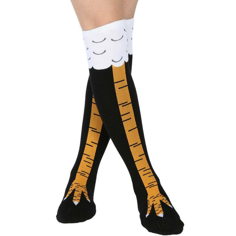 Women Crazy Funny Chicken Leg Cluck Novelty Knee Thight High Sock Breathable Fitness Gift TC21