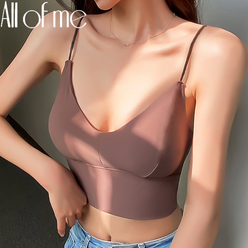 Seamless Top Women Fashion Crop Top Female Camisole Sexy Tank Tops Streetwear Solid Color Intimate Lingerie Push Up Massage Pad