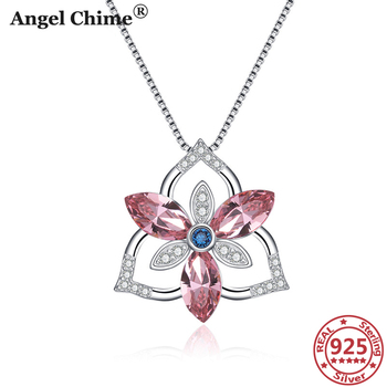 AC 925 Sterling Silver Flower Crystal Necklace Crystal Zircon Pendant Necklace Mother's Day Gift Mom's Gift S925 Woman's Jewelry