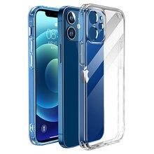 Luxo à prova de choque silicone caso do telefone para o iphone 12 11 pro max transparente caso para o iphone 11 12 mini câmera proteção capa