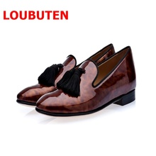 LTTL Patent Leather Men Tassel Shoes Men's Loafers Party and Wedding Men Dress Shoes Casual Slippers piergitar 2018 new black patent leather men loafers with gold luxurious embroidery fashion party and wedding men s dress shoes