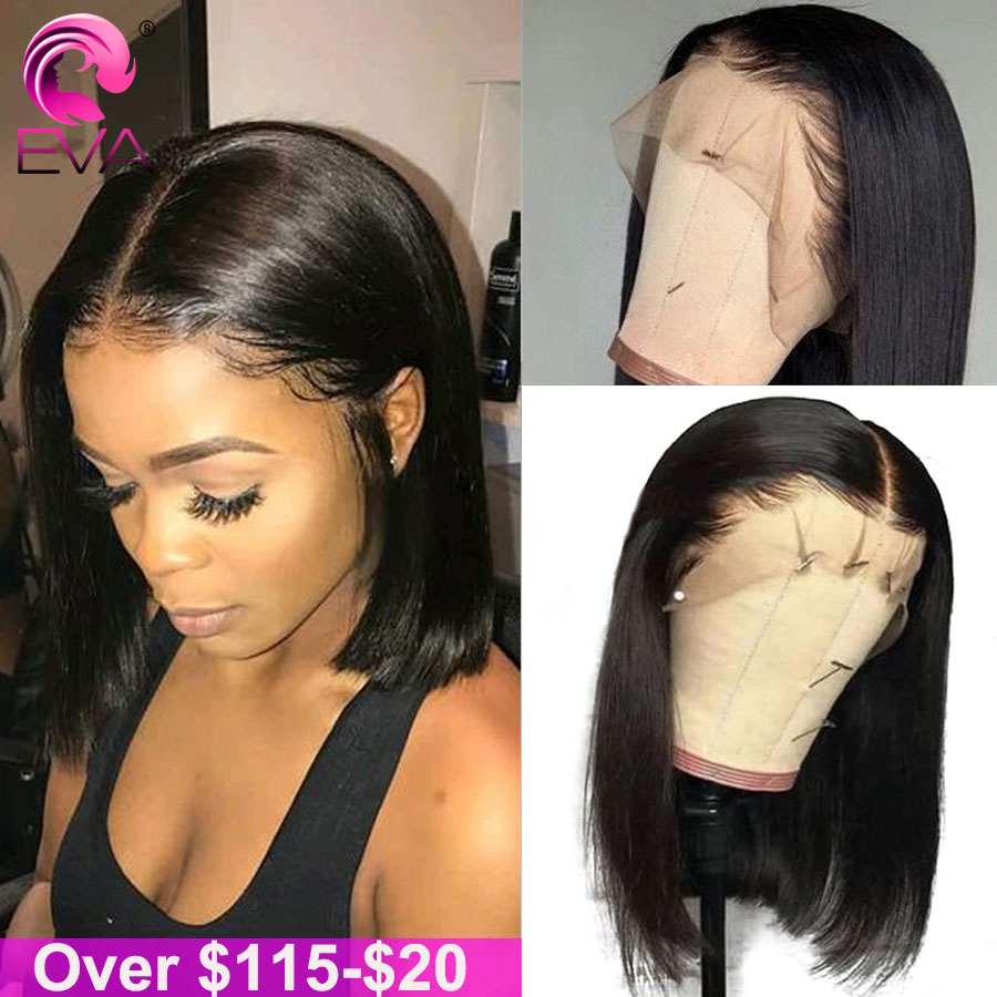 Eva 13x6 Short Lace Front Human Hair Wigs Pre Plucked With Baby Hair Straight Bob Lace Front Wigs For Black Women Brazilian Remy