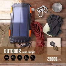 Solar Power Bank Waterproof 30000mAh Charger 2 USB External Charger Powerbank for Xaiaomi Iphone Huawei All Phone LED Poverbank(China)