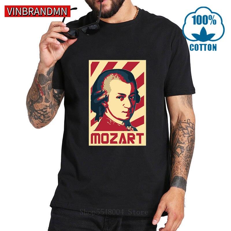Mozart Propaganda Poster Popular Art T Shirts Men Famous Music Composer T-Shirt Piano Music Lovers Tee Shirt Great Musician Tees