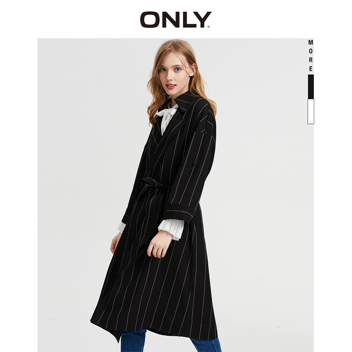 ONLY Women's Cinched Waist Striped Trench Coat | 120136552