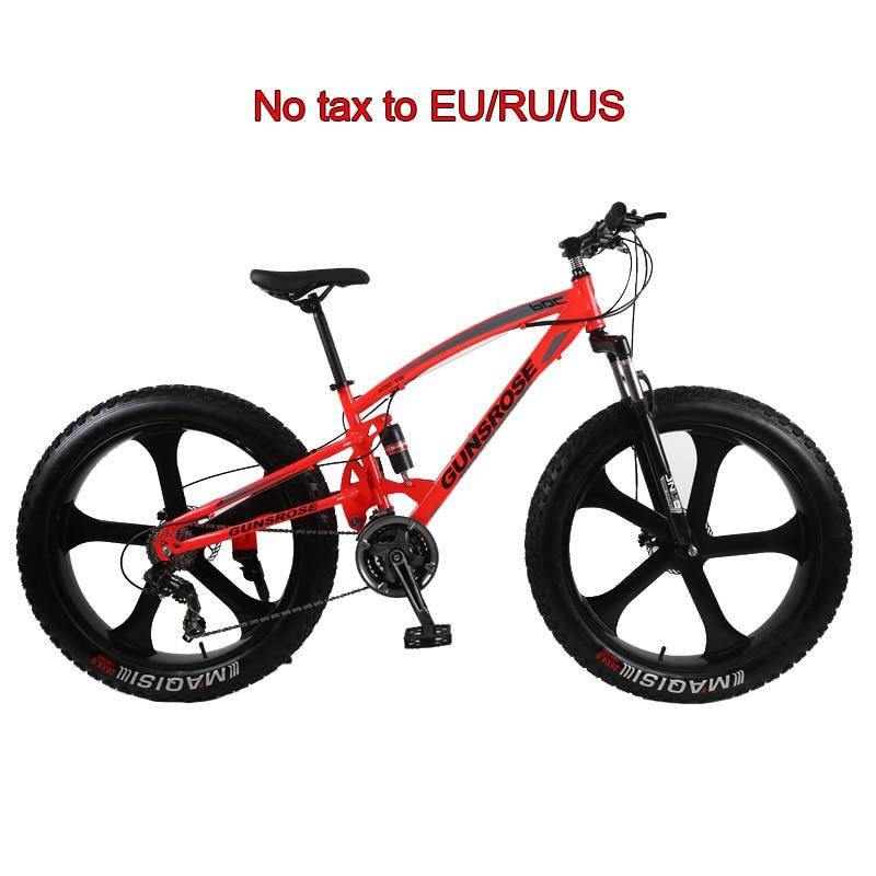 26 Inch Fat Bike 5 Knife Wheel Fat Tire Snow Beach Mountain Bike High Carbon Steel Frame MTB Double Disc Brake Big Tires Bicycle
