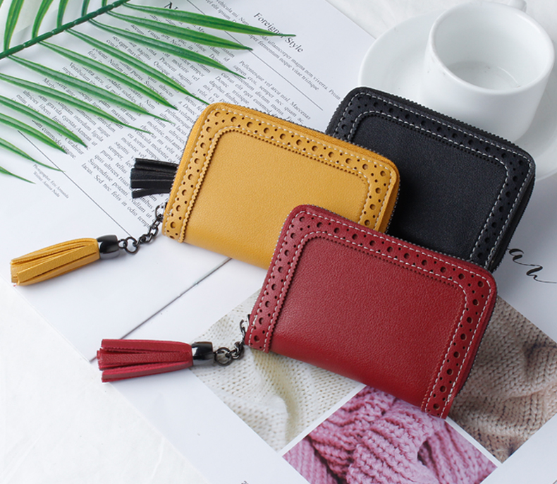 JANE'S LEATHER Fashion Hollow Tassel Women's Function 24 Bits Card Holder Case Business Credit ID Passport Cover Cards Wallet