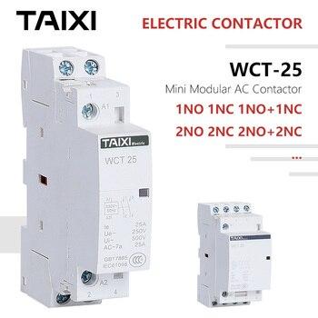 цена на WCT AC-DC-Contactor Miniature-Modular-Contactor 220V 230V 250V 25A 1NO 1NC 2NO 2NC 3NC 3NO CT-16 CT-20 CT-25 CT-40 Contactors